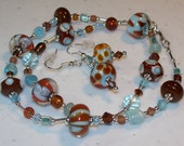 SALE---Aqua and Chocolate Necklace and Earrings