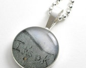 Sterling Silver Round Pendant Necklace. You Choose Personalized Custom Name/Message in the Florida Sand.