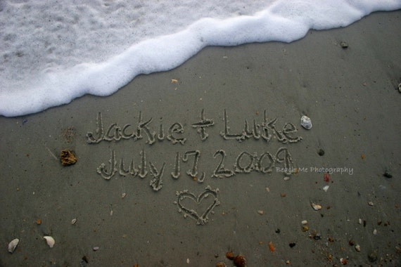 Weddings/Anniversaries.  You Choose Personalized Custom Names, Dates, Messages in the Florida Sand - 5x7 Print