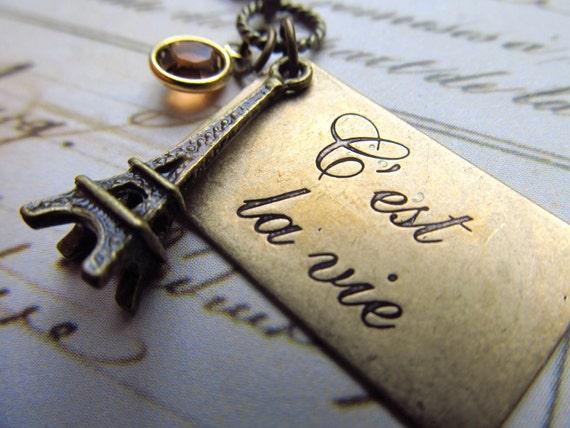 Eiffel Tower Necklace, Golden Brass Charm on Antiqued Brass Chain, C'est La Vie Paris France