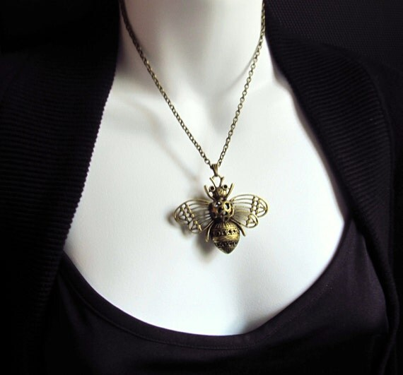 Honey Bee Moth Necklace, Antiqued Brass on 18 Inch Brass Chain