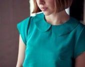 Teal Green Silk Shift Dress