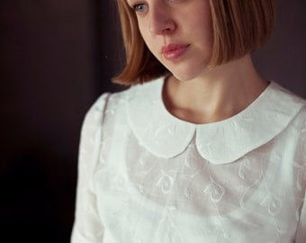 White Peter Pan Collar Blouse-SALE 50% off