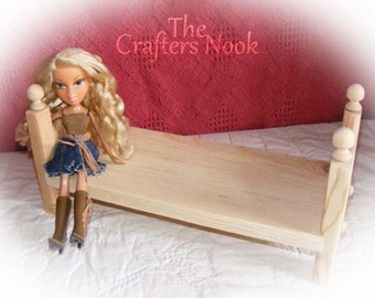 """Monster High Barbie Bratz Doll Bed Stackable Single 12"""" Wood Doll Furniture Gift for Girl Birthday Gift Christmas Gift for Daughter or Niece"""