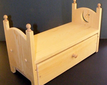 """Stackable American Girl Doll Trundle Bed w/ Moon and Star 18"""" Doll Furniture or Newborn Photo Prop Bed"""