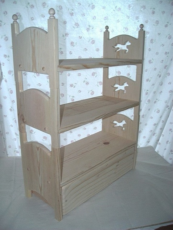 Hand Made Stackable Triple Bunk Bed And Trundle With Horse Cut