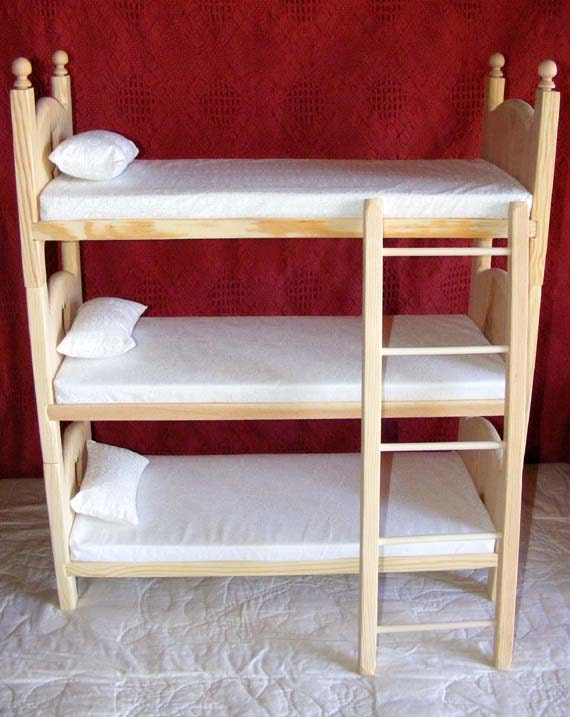 Stackable Triple Doll Bunk Bed Foam Mattresses Pillows and