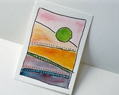 Sunset - Original ACEO Watercolor and Ink Painting