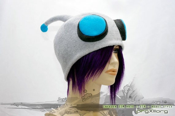 Invader ZIM robot GIR Cap - soft fleece cosplay hats by orgXIIIorg