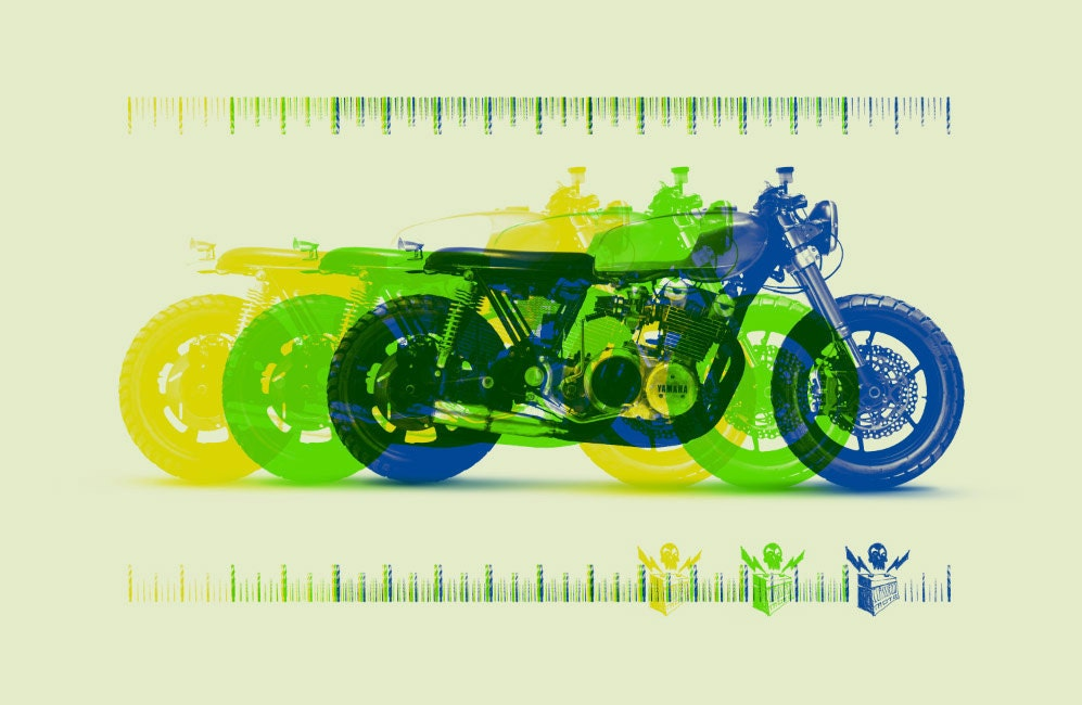 Vintage Motorcycle Screen Print Poster