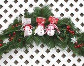 Three Snowmen Christmas Swag - Snowman Swag - Christmas Door Decoration - Christmas Santa Decoration - Christmas Wreath - Holiday Wreath