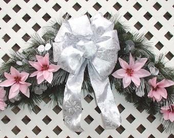 Pink Poinsettia Christmas Swag - Poinsettia Christmas Wreath - Christmas Swag - Holiday Poinsettia Swag - Christmas Door Wreath - Pink Swag