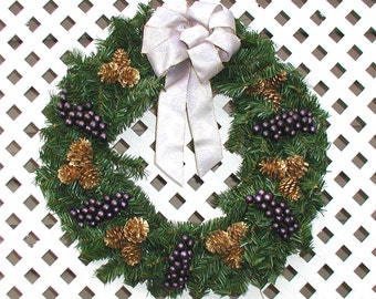 Purple and Gold Christmas Wreath - Christmas Door Wreath - Holiday Door Wreath - Front Door Wreath - Christmas Door Decoration - Door Wreath