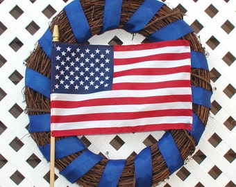 American Flag Wreath - Spring Wreath - Summer Wreath - Patriotic Wreath - Grapevine Wreath - Flag Wreath - Door Wreath - Front Door Wreath