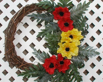 Red and Yellow Poppies Wreath - Spring Wreath - Summer Wreath - Floral Wreath - Door Wreath - Front Door Wreath - Grapvine Wreath - Wreath
