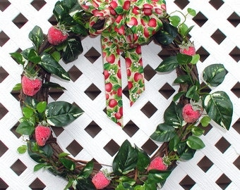 Strawberry Wreath - Spring Wreath - Summer Wreath - Door Wreath - Grapevine Wreath - Spring Door Wreath - Summer Door Wreath - Wreath
