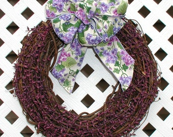 Wreath - Spring Wreath - Summer Wreath - Purple Berries Wreath - Floral Wreath - Spring Door Wreath - Summer Door Wreath - Grapevine Wreath
