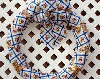 Spring Wreath - Summer Wreath - Straw Wreath - Floral Wreath - Spring Door Wreath - Summer Door Wreath - Blue Floral Wreath - Door Wreath