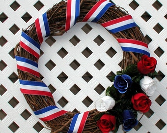 Patriotic Wreath - Summer Wreath - Spring Wreath - Red White and Blue Wreath - Door Wreath - Patriotic Door Wreath - Floral Wreath - Wreath