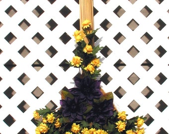 Purple and Yellow Decorative Broom - Spring Wreath - Summer Wreath - Decorative Broom - Door Wreath - Front Door Wreath - Floral Wreath