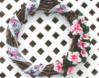 Pink Floral Wreath - Summer Wreath - Spring Wreath - Grapevine Wreath - Pink Wreath - Door Wreath - Summer Floral Wreath - Floral Wreath