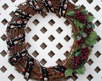 Grapes and Wine Wreath - Spring Wreath - Summer Wreath - Grapevine Wreath - Wine Wreath - Door Wreath - Front Door Wreath - Wreath