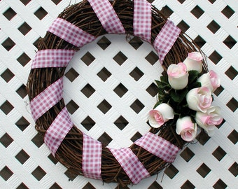 Pink and White Roses Wreath - Spring Wreath - Summer Wreath - Floral Wreath - Spring Floral Wreath - Summer Floral Wreath - Door Wreath