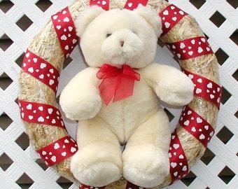 Teddy Bear Wreath - Spring Wreath - Summer Wreath - Straw Wreath - Door Wreath - Front Door Wreath - Stuffed Teddy Bear Wreath - Wreath
