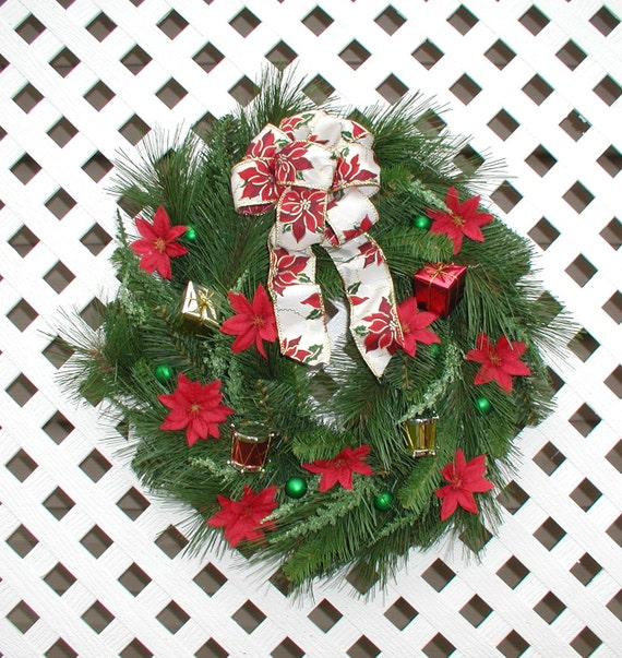 Items similar to red poinsettia christmas wreath for 5ft poinsettia garland christmas decoration