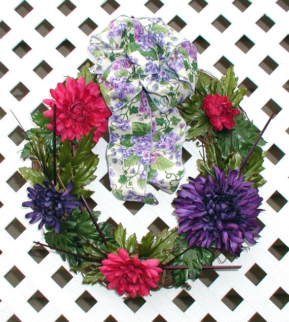 Pink and Purple Spring Wreath - Spring Wreath - Summer Wreath - Door Wreath - Purple Wreath - Pink Wreath - Floral Wreath - Wreath