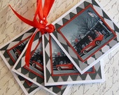 Red Corvette Gift Tags - Set of Four