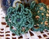 Green Hemp Crochet Earrings