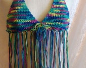 Tie Dye Fringe Halter Top size small