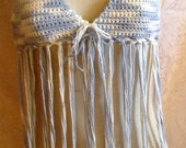 Blue And White Fringe Halter Top size small