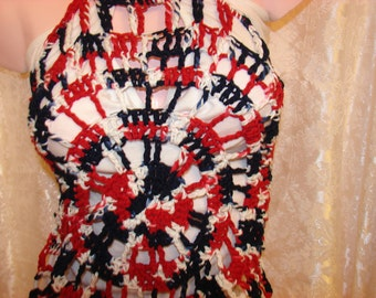 Red White Halter Swimsuit Cover Up