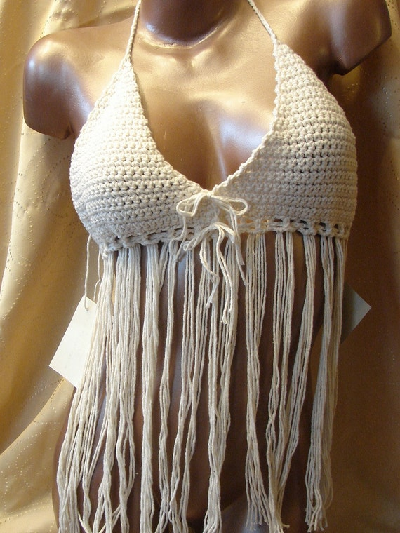 Reserve for Audrey Horne Natural Fringe Halter Top size medium