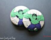 "The Avengers Hulk Button Earrings 1 1/2"""