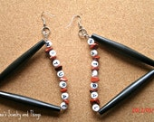 "Triangle Black Pipe  ""Natural"" Earrings"