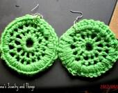 Lime Green Crochet Hoops
