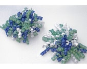 Mint, Blue, and White Bouncy Bow