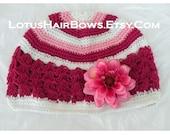 Crochet Kufi Cap \/ Hat \/ Beanie - with Detachable Hot Pink Dahlia Hair Bow \/ Clip