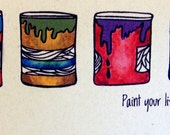 Paint cans full of life greeting card