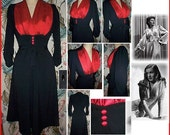 Sexy 1940s Shapely and Feminine Jazz Dress... Straight or Flared... All the Right Curves... black stretch with your bust panel color...