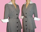 I Love Lucy Dress... Pin Up bombshell Hourglass Dress with Peplum ...Stretch fabric Large Houndstooth... Comfy and stylish