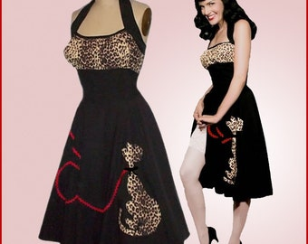 Swing'n Leopard Kitty Halter Dress... All sizes... more prints to choose from (see menu)... Meeeoow.. Otome... Lolita...