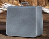 Taperlite Vintage Suitcase Wardrobe - Blue with Gold Latches and Hinges