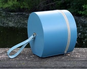 Small Round Turquoise Travel Case, Suitcase, Hatbox with Loop Handle