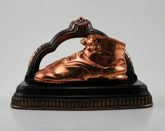 Vintage Preserved Baby Shoe Bookend