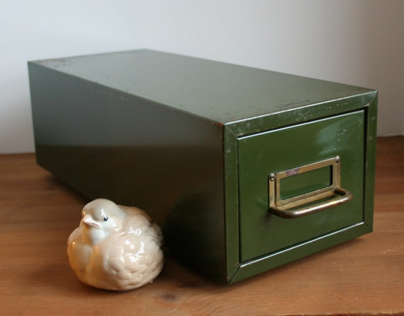 Forest Green Industrial Metal one drawer file cabinet box