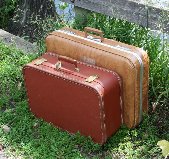 Sable-colored Vintage Suitcase with silky dark rose interiors, brass hardware, two original keys included